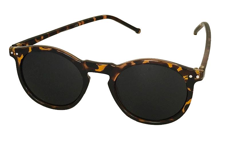 Runda sköldpaddsbruna solglasögon med mörkt glas 8b4097a927690
